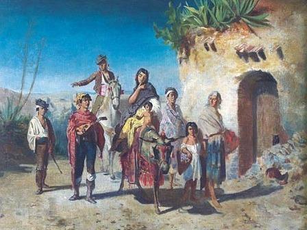 boceto familia gitana para Achille Zo