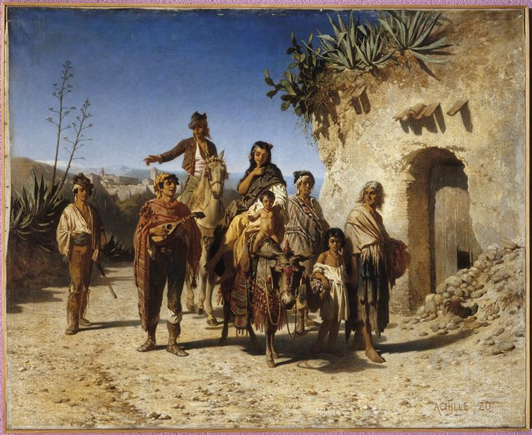 familia gitana en camino Para Achille Zo