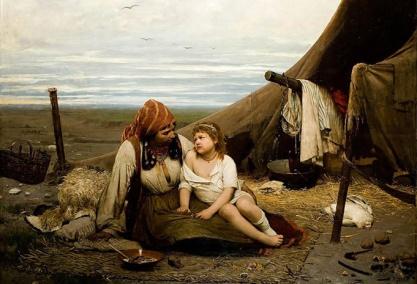 Niña robada por una familia gitana. Antoni Kozakiewicz,1886